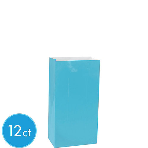 Mini Caribbean Blue Paper Treat Bags 12ct Image #1