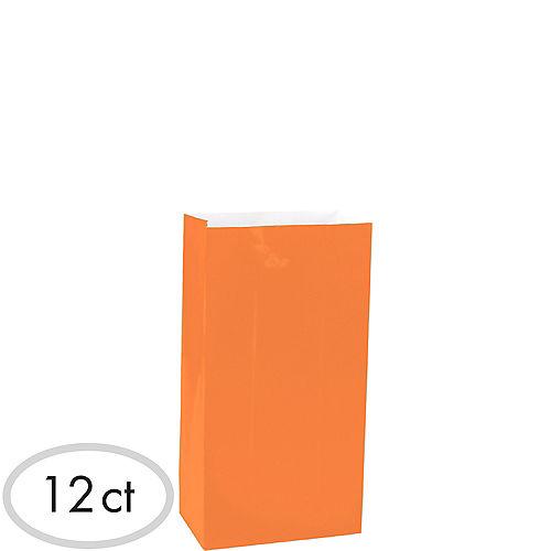 Mini Orange Paper Treat Bags 12ct Image #1