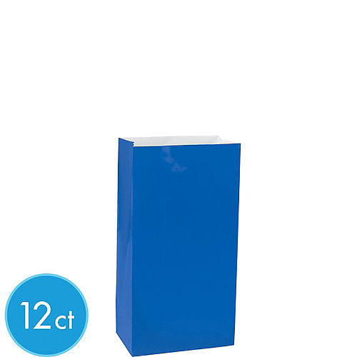 Mini Royal Blue Paper Treat Bags 12ct Image #1