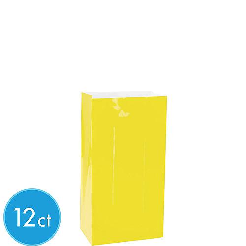 Mini Sunshine Yellow Paper Treat Bags 12ct Image #1