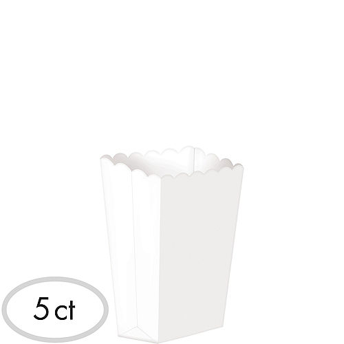 Mini White Popcorn Treat Boxes 5ct Image #1