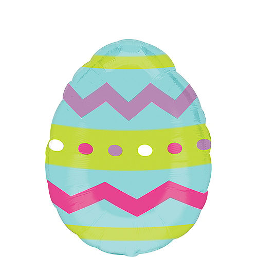 Striped Easter Egg Balloon, 18in Image #1