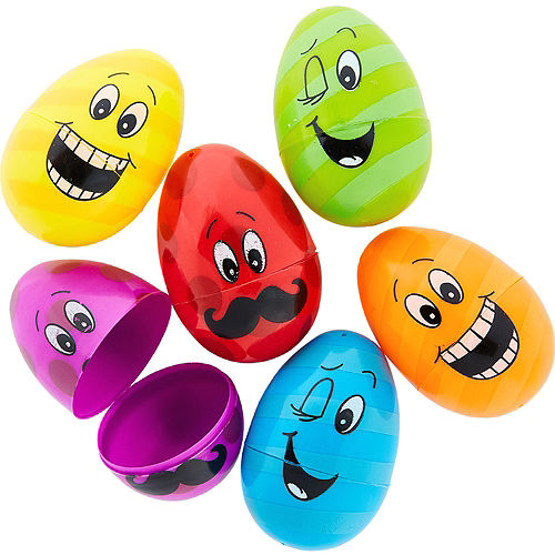 Funny Faces Plastic Easter Eggs 6ct Image #1