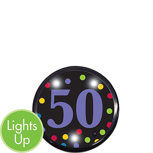 Light-Up 50th Birthday Button Image #1