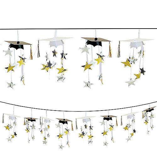Black & Gold 3D Grad Cap Graduation Garland Image #1