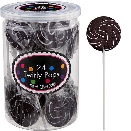 Black Swirly Lollipops 24pc Image #1