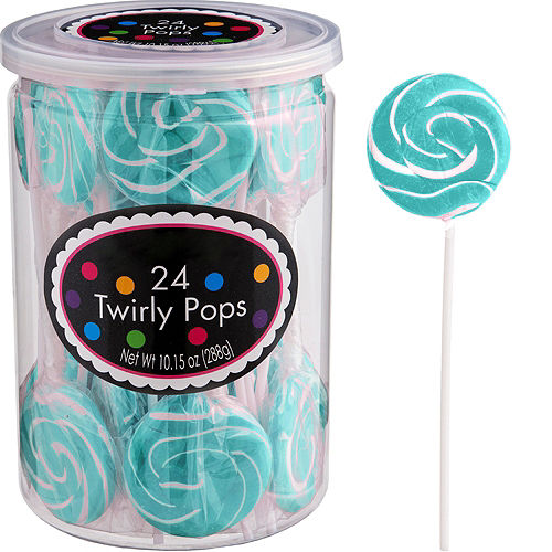 Robin's Egg Blue Swirly Lollipops 24pc Image #1