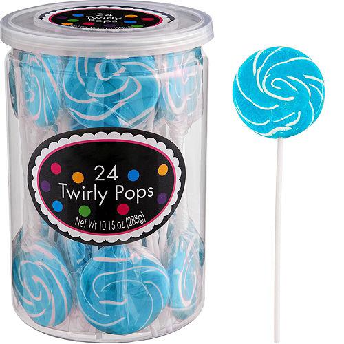 Caribbean Blue Swirly Lollipops 24pc Image #1