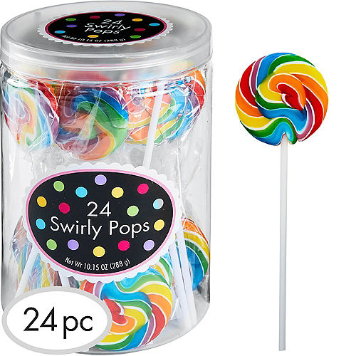 Rainbow Swirly Lollipops 24pc Image #1