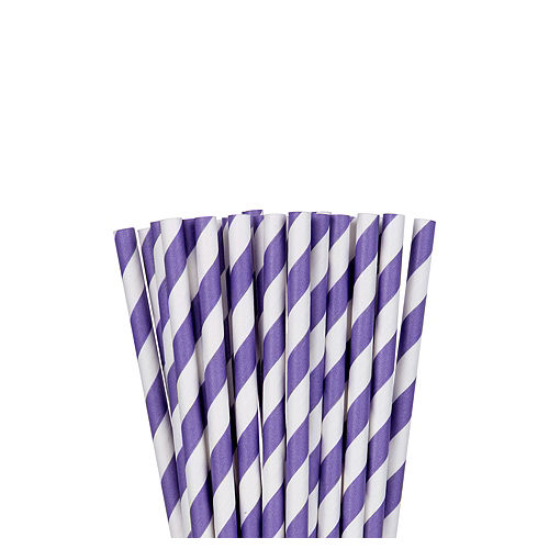 Purple Striped Paper Straws 24ct Image #1
