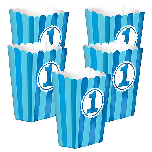 Blue Striped 1st Birthday Popcorn Boxes 5ct Image #1