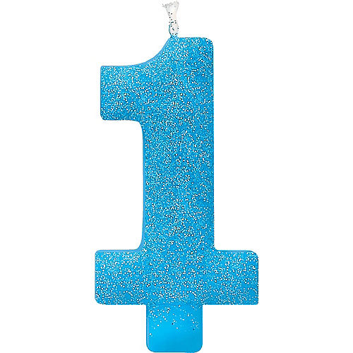 Giant Glitter Blue Number 1 Birthday Candle Image #1