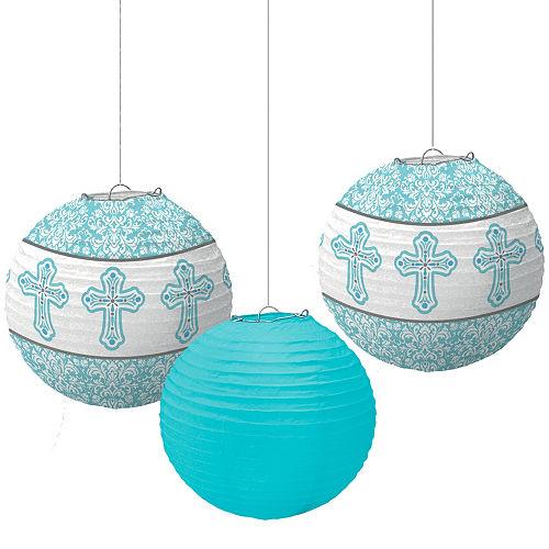 Blue Communion Paper Lanterns 3ct Image #1