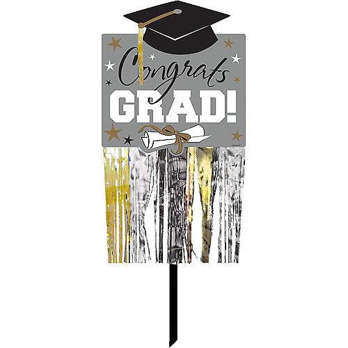 Black, Gold & Silver Fringe Graduation Yard Sign Image #1