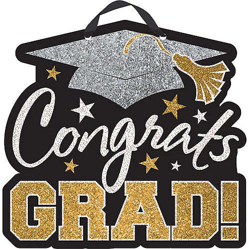 Black, Gold & Silver Glitter Congrats Grad Graduation Sign Image #1