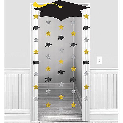 Black, Gold & Silver Graduation Doorway Curtain Image #1