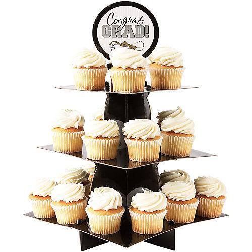 Black, Gold & Silver Graduation Cupcake Stand Image #1