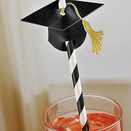 Graduation Cap Straws 12ct Image #2