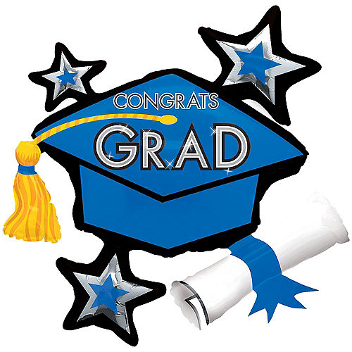 Blue Star Graduation Cap Graduation Balloon, 31in Image #1
