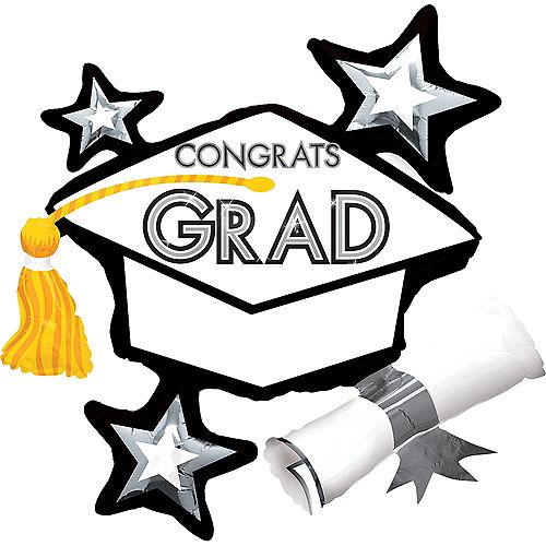 Graduation Balloon - Black & White Star Graduation Cap, 31in Image #1