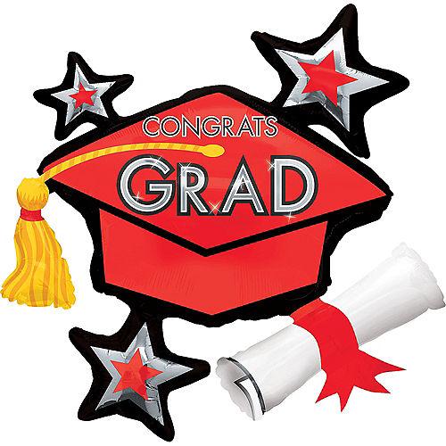 Red Star Graduation Cap Graduation Balloon, 31in Image #1