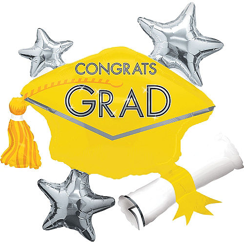Yellow Star Graduation Cap Graduation Balloon, 31in Image #1