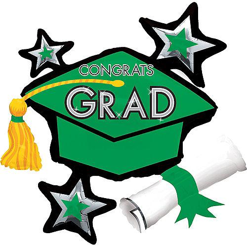 Green Star Graduation Cap Graduation Balloon, 31in Image #1