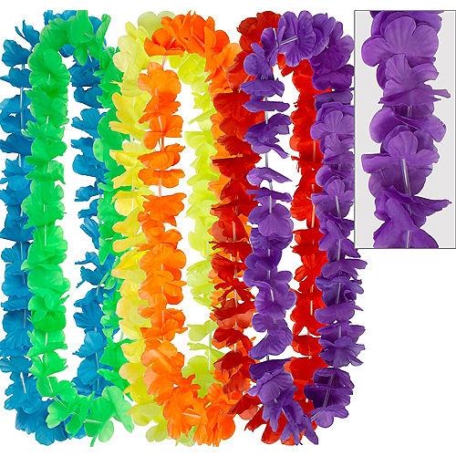 Rainbow Flower Leis 6ct Image #1