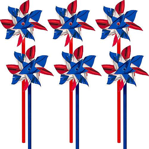 Patriotic Red, White & Blue Pinwheels 6ct Image #1