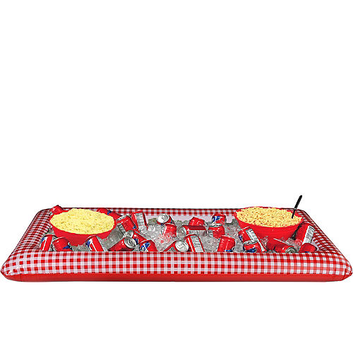 Picnic Party Red Gingham Inflatable Buffet Cooler Image #1