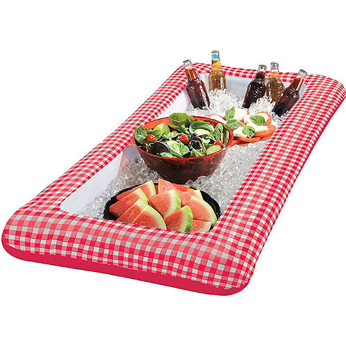 Picnic Party Red Gingham Inflatable Buffet Cooler Image #2