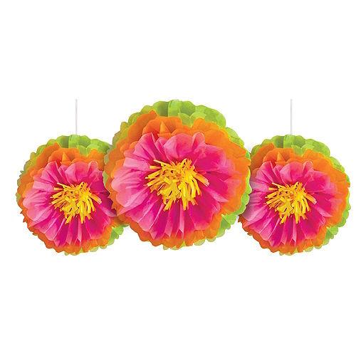 Tropical Flower Tissue Pom Poms 3ct Image #1