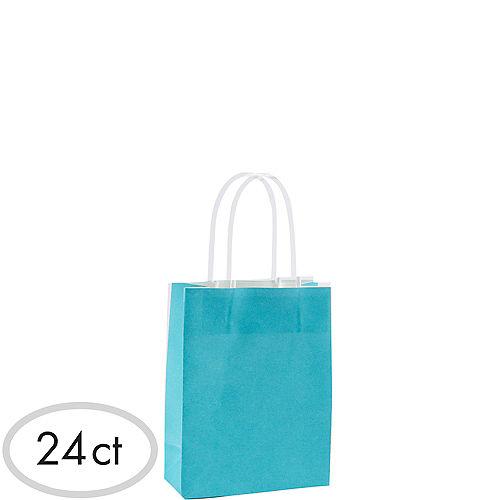 Small Caribbean Blue Kraft Bags 24ct Image #1