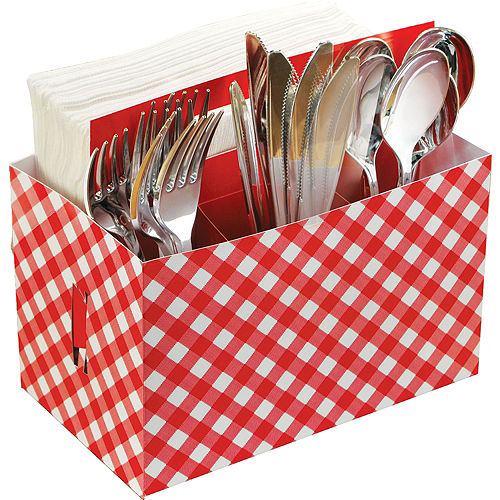 Picnic Party Red Gingham Paper Utensil Caddy Image #1