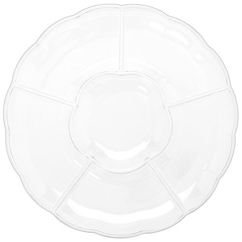 CLEAR Plastic Scalloped Sectional Platter Image #1
