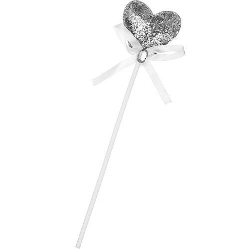 Silver Glitter Plush Heart Wand Image #1