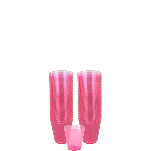 Big Party Pack Bright Pink Plastic Shot Glasses 100ct Image #1