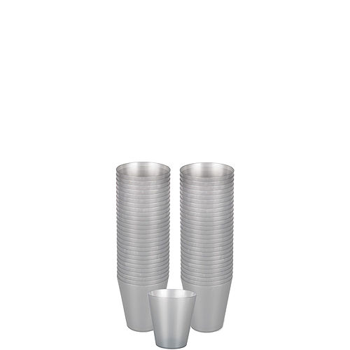 Big Party Pack Silver Plastic Shot Glasses 100ct Image #1
