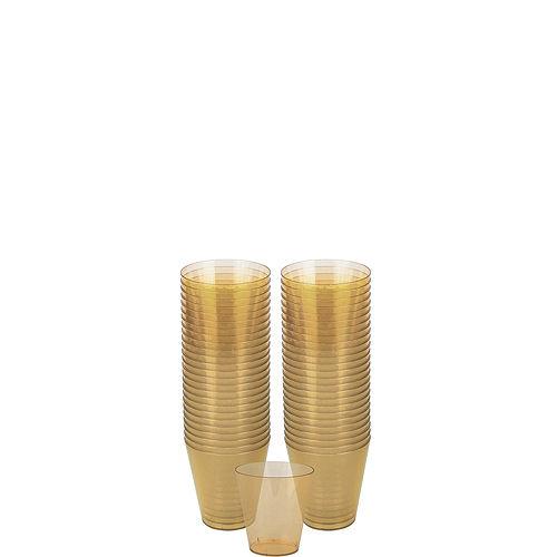Big Party Pack Gold Plastic Shot Glasses 100ct Image #1