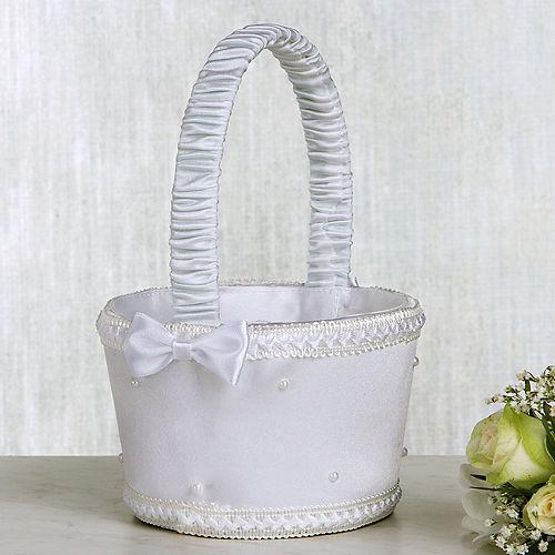 White Pearl Flower Girl Basket Image #1
