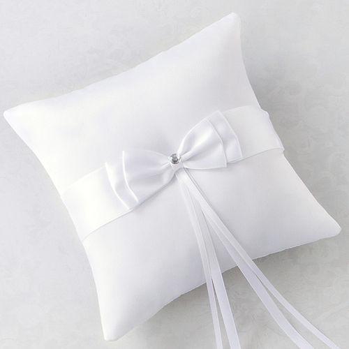 White Bow Ring Bearer Pillow Image #1
