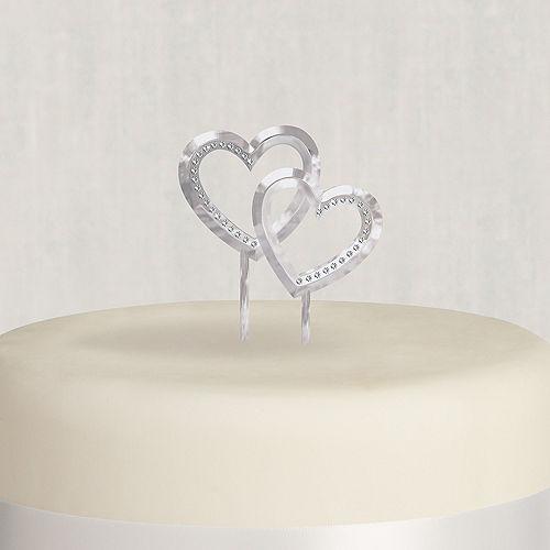 Double Heart Wedding Cake Topper Image #1