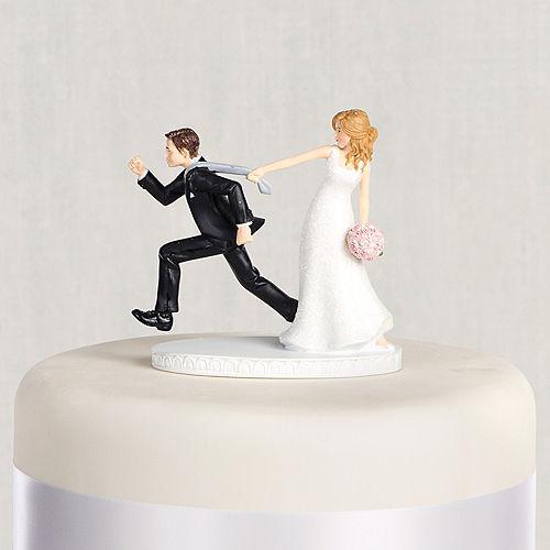 Tie Puller Bride & Groom Wedding Cake Topper Image #1