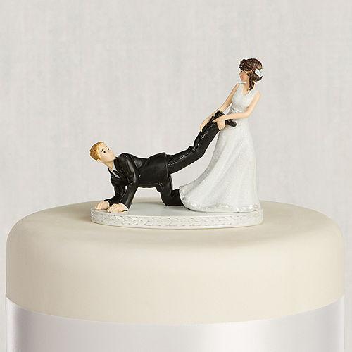 Leg Puller Bride & Groom Wedding Cake Topper Image #1