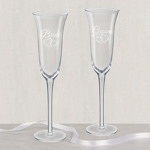 Bride & Groom Wedding Toasting Glasses 2ct Image #1