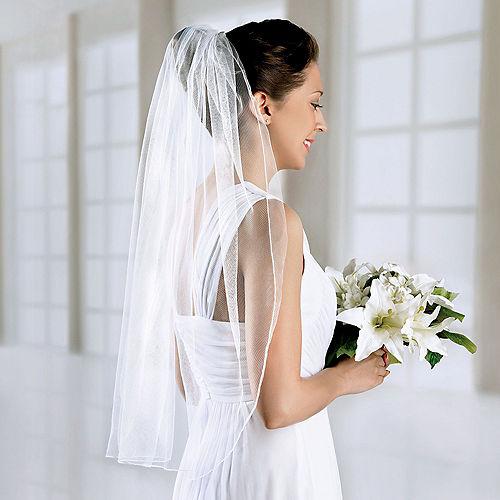 White Single Layer Wedding Veil Image #1