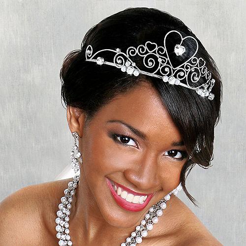 Gemstone Heart Silver Wedding Tiara Image #1