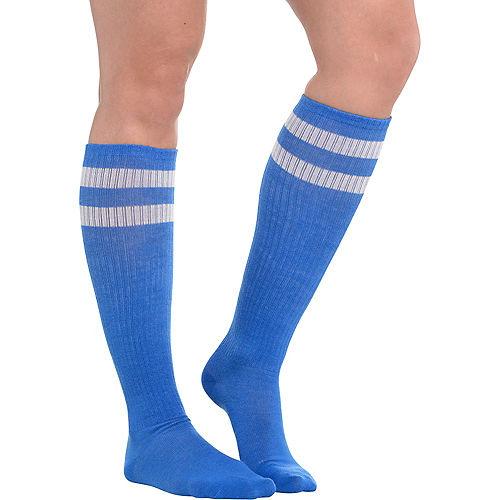 Blue Stripe Athletic Knee-High Socks Image #1