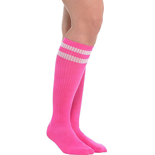 Pink Stripe Athletic Knee-High Socks Image #1