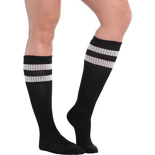 Black Stripe Athletic Knee-High Socks Image #1